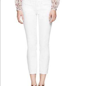 "Tory Burch ""Alexa"" white denim cropped jeans"